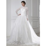 Ball-Gown High Neck Chapel Train Satin Tulle Wedding Dress With Ruffle Lace Beadwork (002015462)