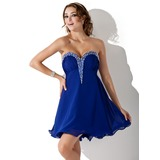 Empire Sweetheart Short/Mini Chiffon Charmeuse Homecoming Dress With Ruffle Beading
