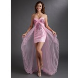 Sheath/Column Sweetheart Asymmetrical Tulle Charmeuse Prom Dress With Beading
