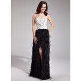 Sheath Sweetheart Floor-Length Satin Feather Prom Dress With Beading
