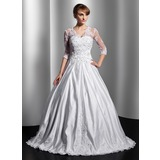 Ball-Gown V-neck Floor-Length Satin Tulle Wedding Dress With Lace Beading Sequins