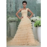 Ball-Gown One-Shoulder Cathedral Train Chiffon Organza Prom Dress With Ruffle Lace Beading