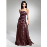 A-Line/Princess Strapless Sweep Train Organza Prom Dress With Ruffle Lace