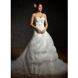 Ball-Gown Sweetheart Chapel Train Organza Satin Wedding Dress With Ruffle Lace Beading Sequins