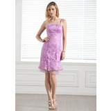Sheath/Column Knee-Length Tulle Charmeuse Lace Bridesmaid Dress