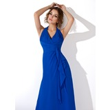 A-Line/Princess Halter Ankle-Length Chiffon Evening Dress With Cascading Ruffles