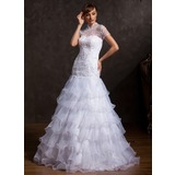 A-Line/Princess High Neck Floor-Length Organza Tulle Wedding Dress With Lace Beading Cascading Ruffles