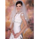 Fingertip Veils Tulle Two-tier Beaded Edge Wedding Veils With Classic (006020341)