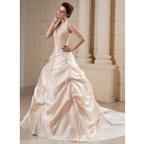 Ball-Gown Halter Cathedral Train Satin Wedding Dress With Embroidery Beadwork (002000678)