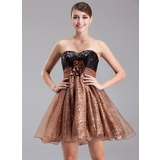 Empire Sweetheart Short/Mini Organza Charmeuse Sequined Cocktail Dress With Ruffle Beading Flower(s)