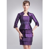 Sheath/Column Short/Mini Taffeta Mother of the Bride Dress With Beading Cascading Ruffles