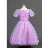 A-Line/Princess Off-the-Shoulder Floor-Length Organza Satin Flower Girl Dress With Ruffle