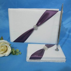Pretty Satin Rhinestones Guestbook/Pen Set