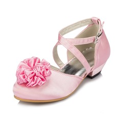 Kids' Satin Low Heel Closed Toe Pumps With Satin Flower