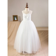 A-Line/Princess Ankle-length Flower Girl Dress - Satin/Tulle/Lace Straps With Bow(s)