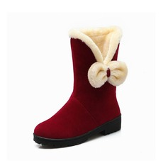 Women's Suede Flat Heel Ankle Boots With Bowknot shoes