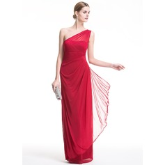 Sheath/Column One-Shoulder Floor-Length Chiffon Evening Dress With Cascading Ruffles