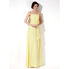 A-Line/Princess Floor-Length Chiffon Bridesmaid Dress With Flower(s) Cascading Ruffles