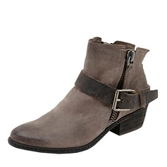 Women's Suede Chunky Heel Boots Ankle Boots With Buckle Zipper shoes
