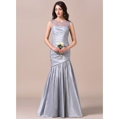 Trumpet/Mermaid Scoop Neck Floor-Length Taffeta Bridesmaid Dress With Ruffle