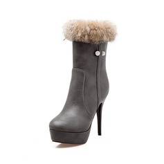 Women's Leatherette Stiletto Heel Platform Ankle Boots With Rhinestone Fur shoes