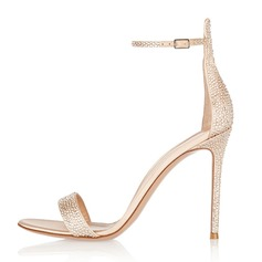 Women's Real Leather Stiletto Heel Sandals Peep Toe With Rhinestone shoes