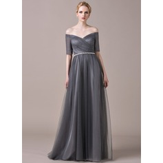 A-Line/Princess Off-the-Shoulder Floor-Length Tulle Evening Dress With Ruffle Beading