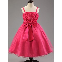 A-Line/Princess Knee-length Flower Girl Dress - Cotton Blends With Flower(s)/Bow(s)