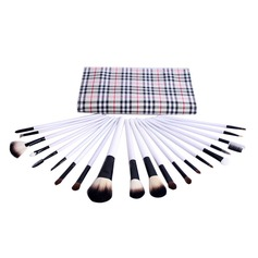 20 Pcs Natural Goat Hair Makeup Brush Set With Trellis Design Pouch
