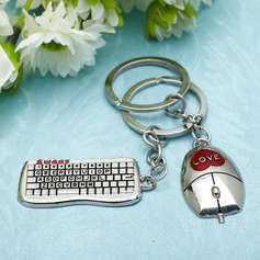 Personalized Keyboard and Mouse Stainless Steel Keychains (Set of 4 Pairs)