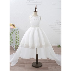 A-Line/Princess Knee-length/Court Train/Detachable Flower Girl Dress - Organza/Satin Sleeveless Scoop Neck With Lace/Beading
