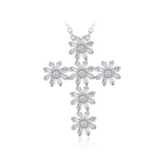 Snowflakes Shaped Copper/Zircon/Platinum Plated Ladies' Necklaces