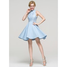 A-Line/Princess High Neck Short/Mini Satin Homecoming Dress (022089915)
