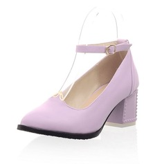 Leatherette Chunky Heel Pumps Closed Toe With Buckle shoes (085052263)