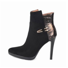 Women's Suede Stiletto Heel Pumps Ankle Boots With Sequin Zipper Split Joint shoes (088103891)