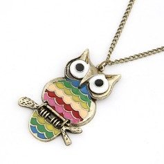 Cute Owl Alloy Coloured Glaze Women's Fashion Necklace