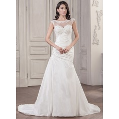 Trumpet/Mermaid Scoop Neck Chapel Train Taffeta Wedding Dress With Ruffle Beading Appliques Lace Sequins