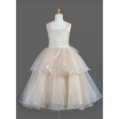 A-Line/Princess Tea-length Flower Girl Dress - Organza Sleeveless Square Neckline With Ruffles/Bow(s)