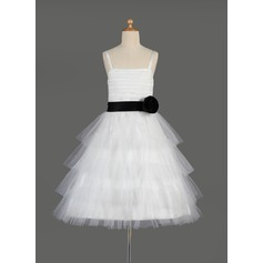 A-Line/Princess Knee-length Flower Girl Dress - Tulle/Charmeuse Sleeveless Square Neckline With Sash