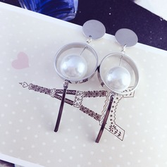 Chic Gold Plated Copper With Imitation Pearl Gold Plated Ladies' Fashion Earrings