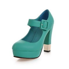 Leatherette Chunky Heel Pumps Platform Closed Toe With Buckle shoes