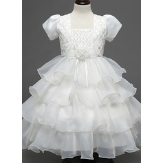 Ball Gown Knee-length Flower Girl Dress - Cotton Blends Short Sleeves Square Neckline With Beading/Flower(s)