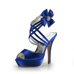 Satin Stiletto Heel Platform Sandals With Rhinestone Satin Flower