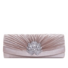 Lovely Satin With Ruffles/Rhinestone Clutches
