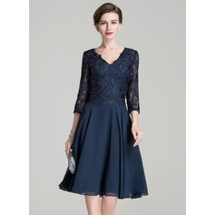 A-Line/Princess V-neck Knee-Length Chiffon Lace Mother of the Bride Dress