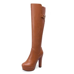 Women's Leatherette Stiletto Heel Boots Knee High Boots shoes
