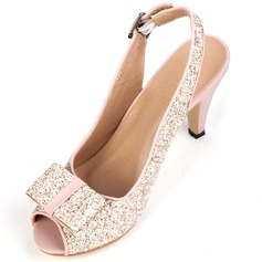Leatherette Cone Heel Sandals With Sparkling Glitter Buckle shoes