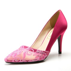 Satin Stiletto Heel Pumps Closed Toe With Flower shoes