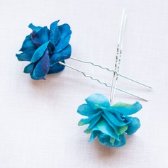 Gorgeous Alloy/Silk Flower Hairpins (Set of 2)