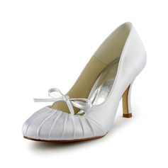 Women's Satin Stiletto Heel Closed Toe Pumps With Bowknot Ruched